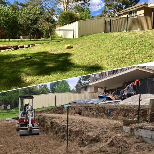 Warrimoo terraces retaining wall sloping block paving sandstone turf landscape construction blue mountains structural fresh perspective landscapes Winmalee 28