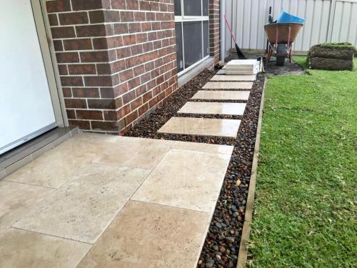Warrimoo terraces retaining wall sloping block paving sandstone turf landscape construction blue mountains structural fresh perspective landscapes Winmalee 3