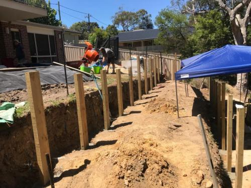 Warrimoo terraces retaining wall sloping block paving sandstone turf landscape construction blue mountains structural fresh perspective landscapes Winmalee 30