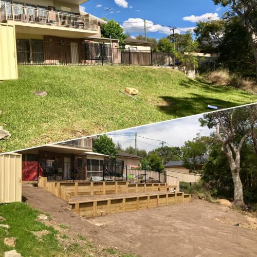 Warrimoo terraces retaining wall sloping block paving sandstone turf landscape construction blue mountains structural fresh perspective landscapes Winmalee 31