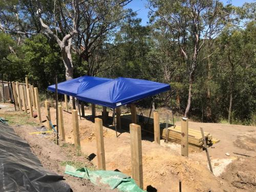 Warrimoo terraces retaining wall sloping block paving sandstone turf landscape construction blue mountains structural fresh perspective landscapes Winmalee 8