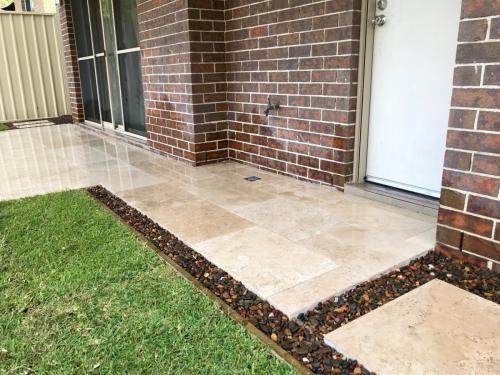 Warrimoo terraces retaining wall sloping blovk paving sandstone turf landscape construction blue mountains structural fresh perspective landscapes Winmalee 1
