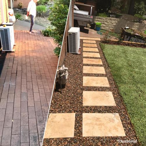 Winmalee retaining wall sloping block paving sandstone turf landscape construction blue mountains structural fresh perspective landscapes Winmalee 12