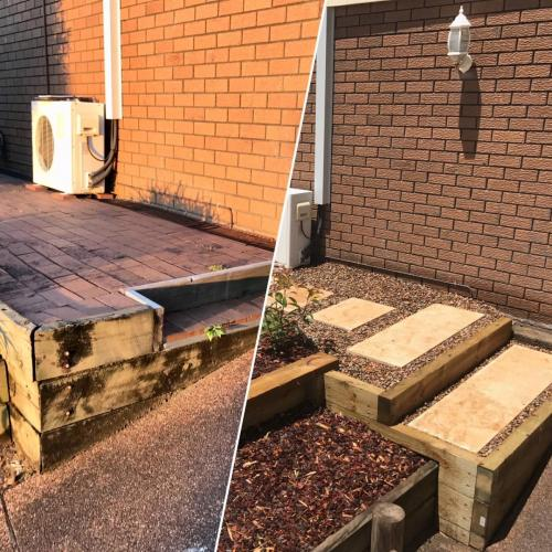 Winmalee retaining wall sloping block paving sandstone turf landscape construction blue mountains structural fresh perspective landscapes Winmalee 13