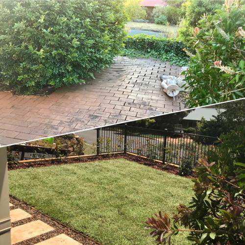 Winmalee retaining wall sloping block paving sandstone turf landscape construction blue mountains structural fresh perspective landscapes Winmalee 14